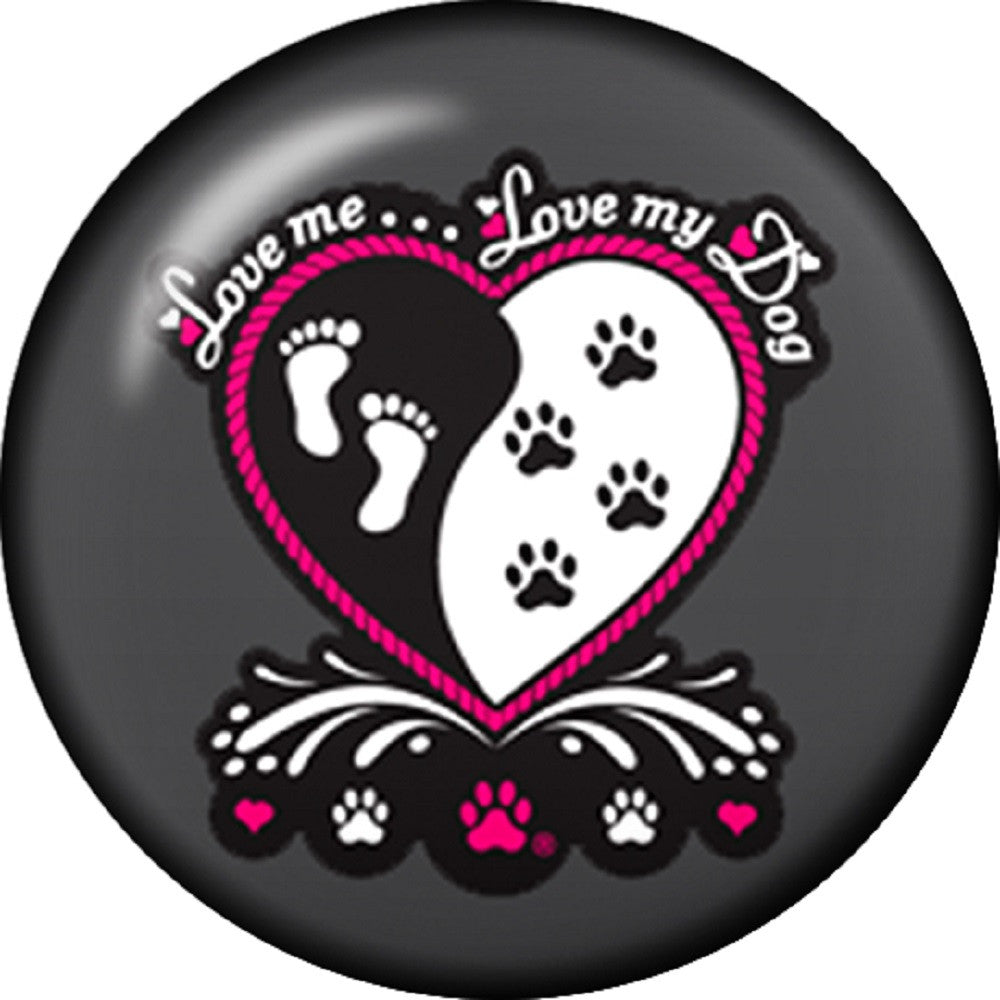 Snap button Love me Love my dog 18mm charm chunk paw prints foot heart