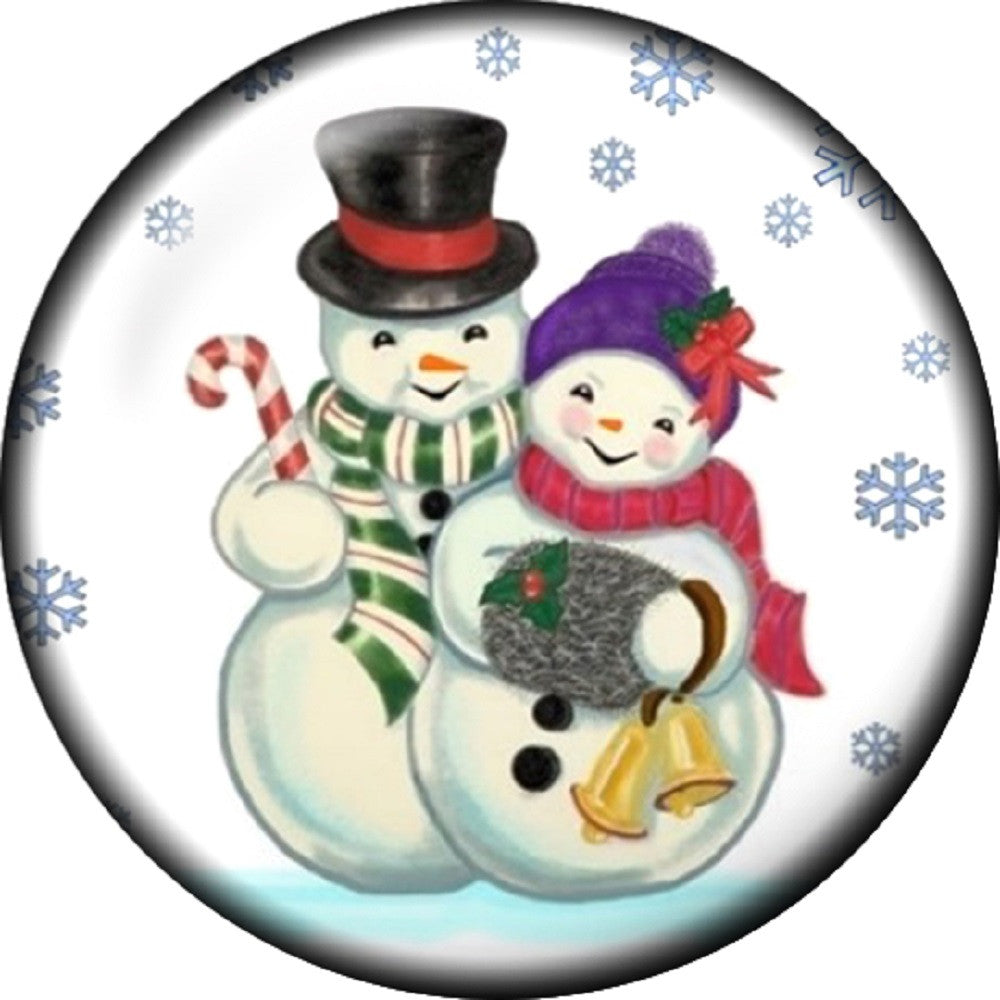 Snap button Snowman Snow Couple 18mm charm chunk interchangeable