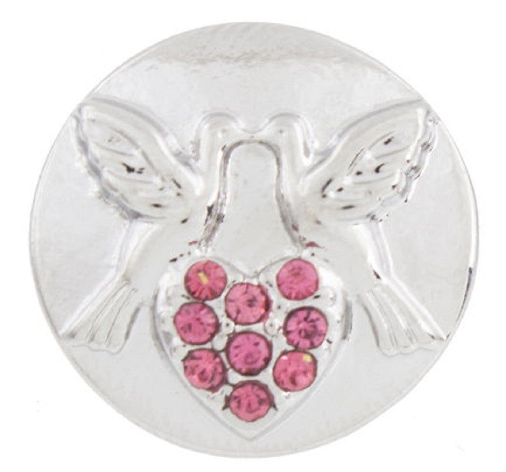 Snap button Love birds Valentine 18mm charm chunk