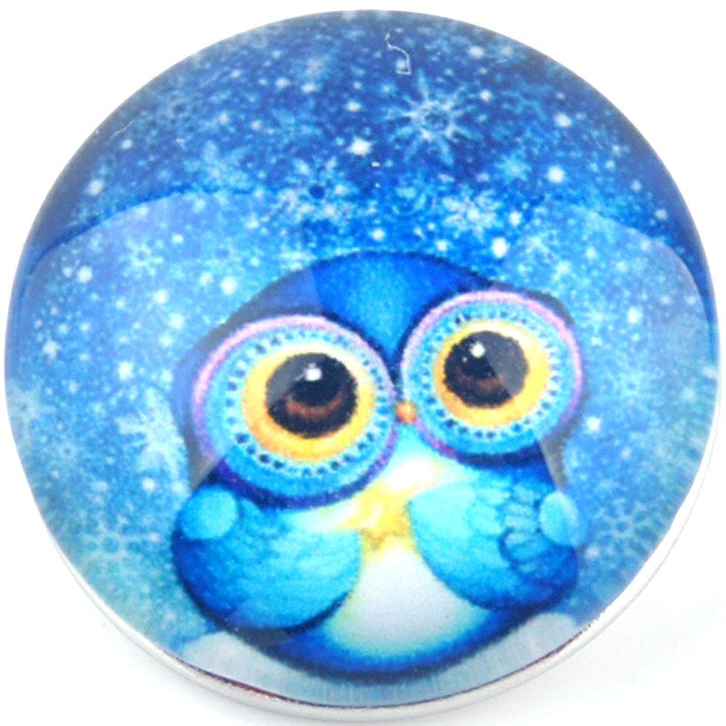 Snap button Owl Celestrial 18mm charm chunk