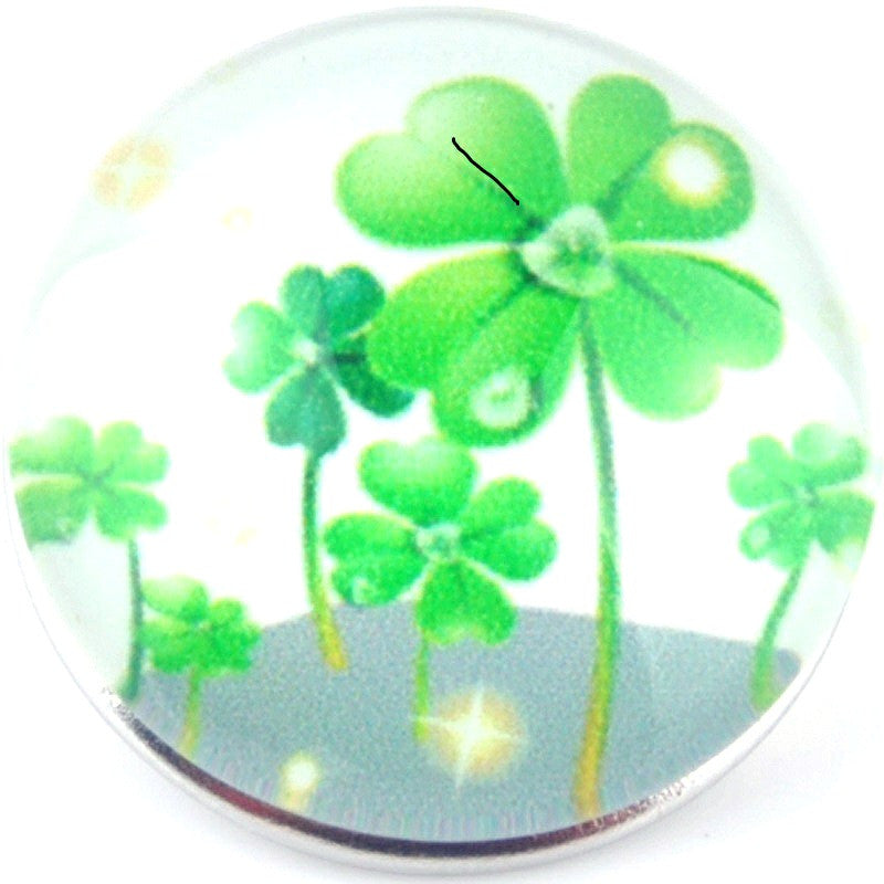 Snap button 4 leaf clover shamrock Irish 18mm charm chunk