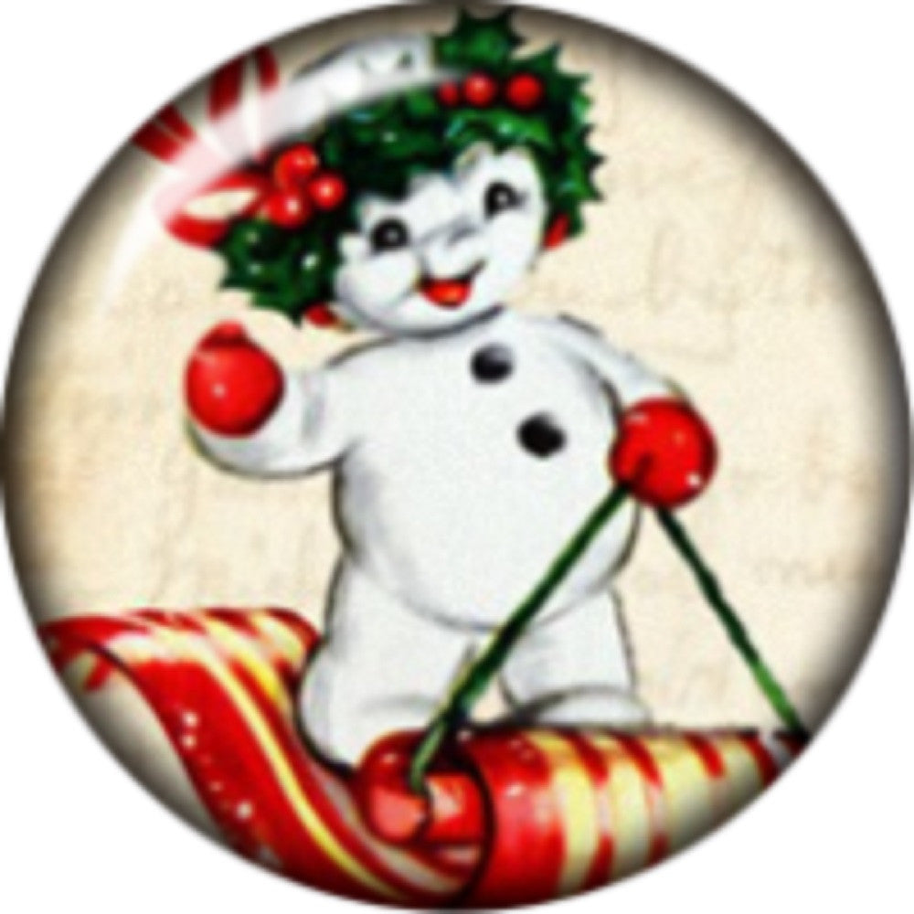 Snap button Holiday Snowman Sleigh 18mm Cabochon chunk charm