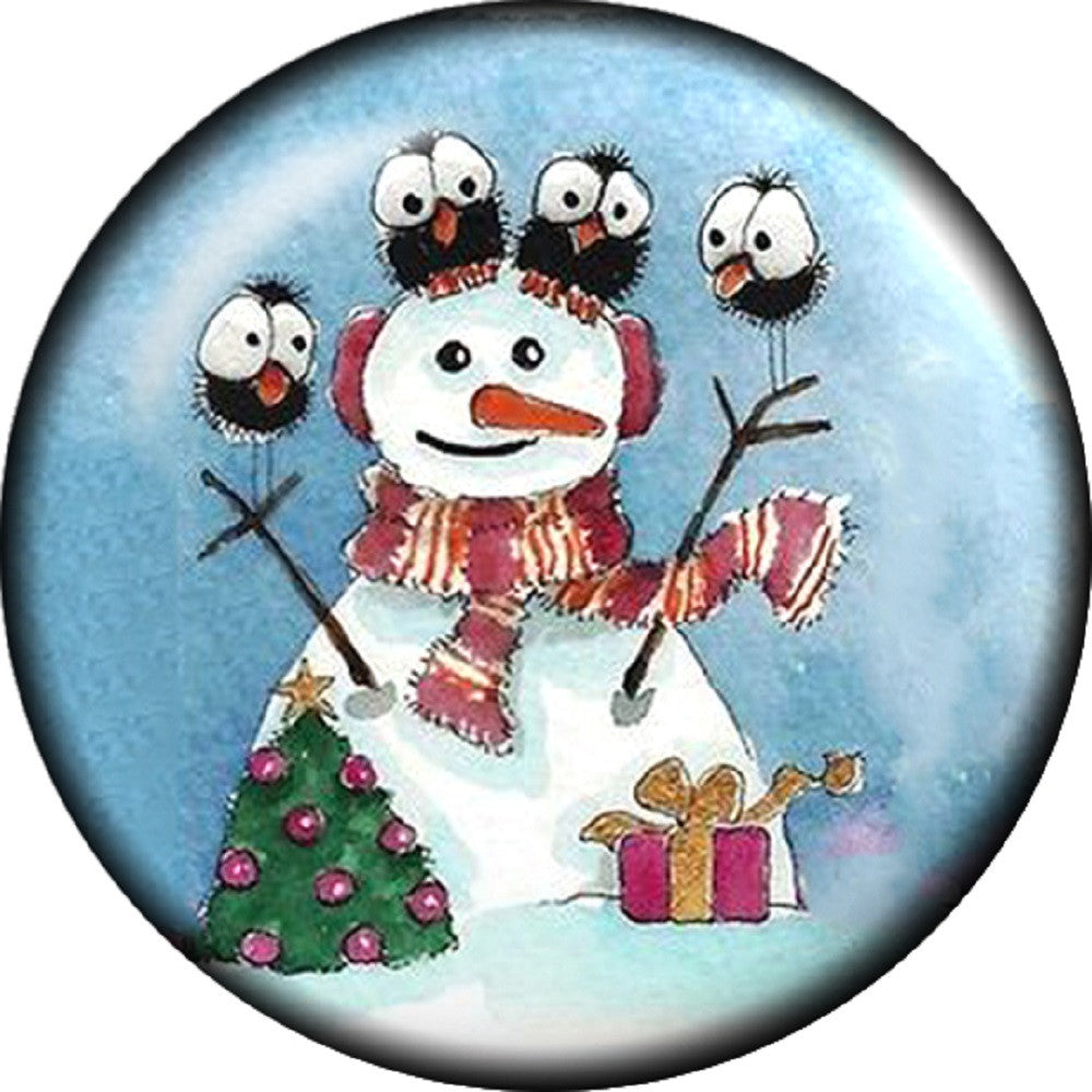 Snap button Holiday Snowman Owl 18mm Cabochon chunk charm