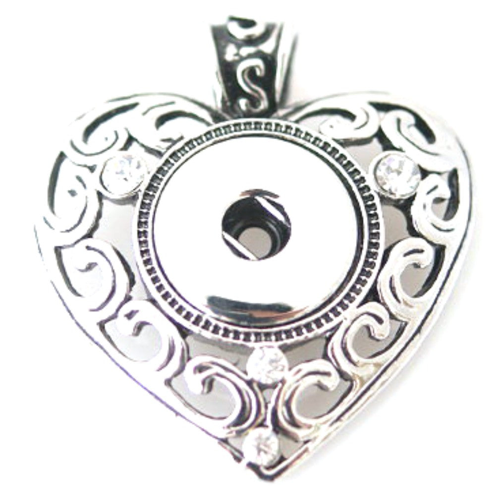 Pendant Interchangeable DIY Ginger Snaps Heart fit for 18mm Snap Button