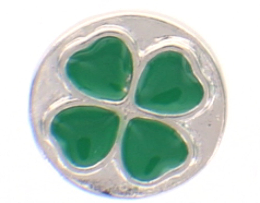 Snap button Holiday 4 leaf clover 18mm Cabochon chunk charm