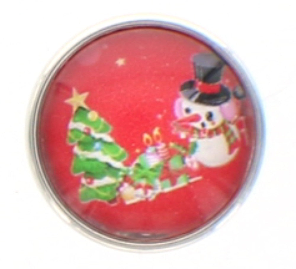 Snap button Holiday Christmas Tree Snowman 18mm Cabochon chunk charm