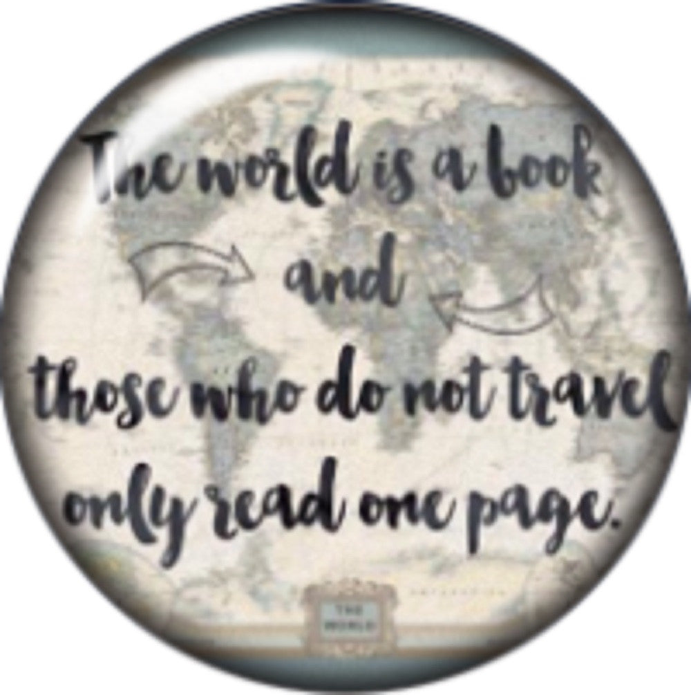 Snap button The world is a book 18mm Cabochon chunk charm