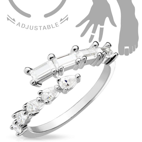 Adjustable Toe Ring/Mid Ring Pear CZs and Princess Cut CZs Crossing