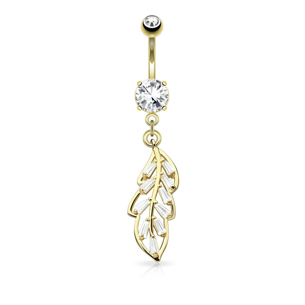 Belly Button Ring Navel Princess Cut CZ Paved Leaf Dangle 316L Surgical Steel Goldtone