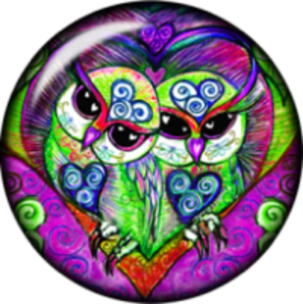 Snap button Stainglass Heart Owls Patchwork 18mm Cabochon chunk charm