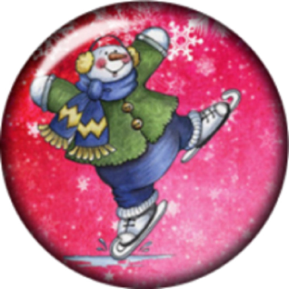Snap button Skating Snowman 18mm Cabochon chunk charm