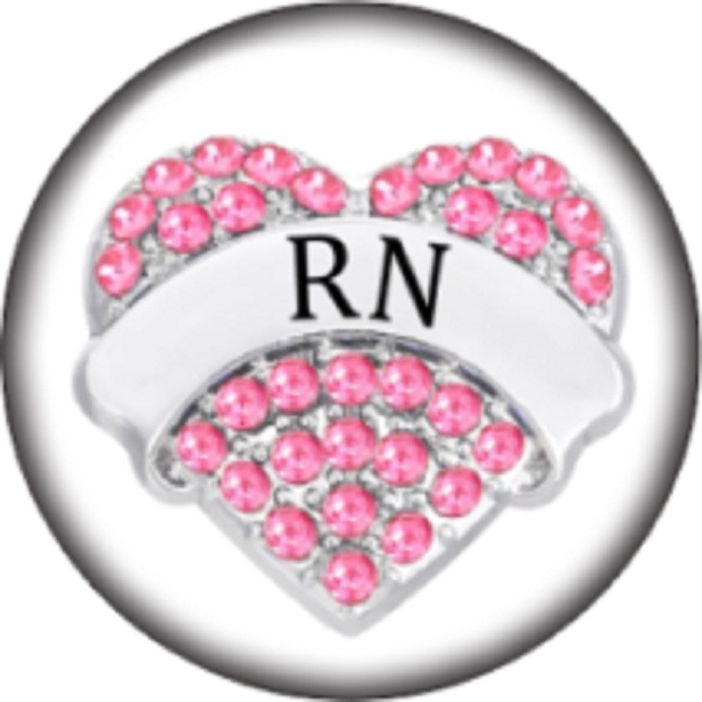 Snap button Registered Nurse RN 18mm Cabochon chunk charm Heart
