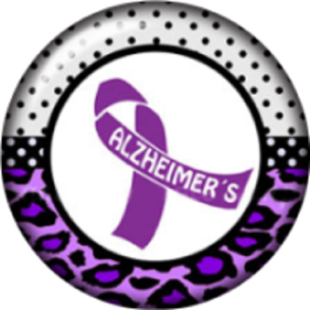 Snap button alzheimer's ribbon awareness 18mm Cabochon chunk charm