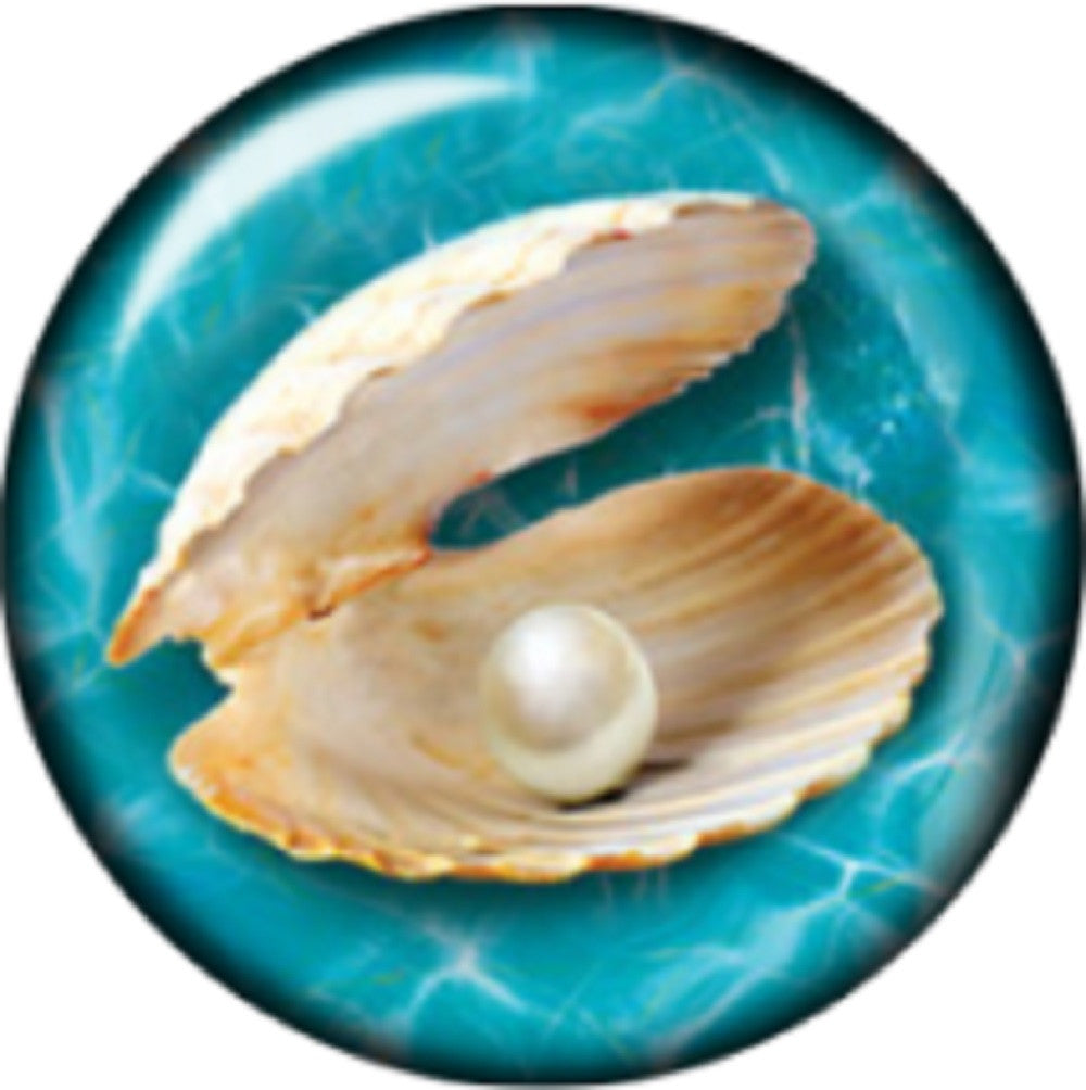 Snap button Picture pearl in a clam shell 18mm Cabochon chunk charm