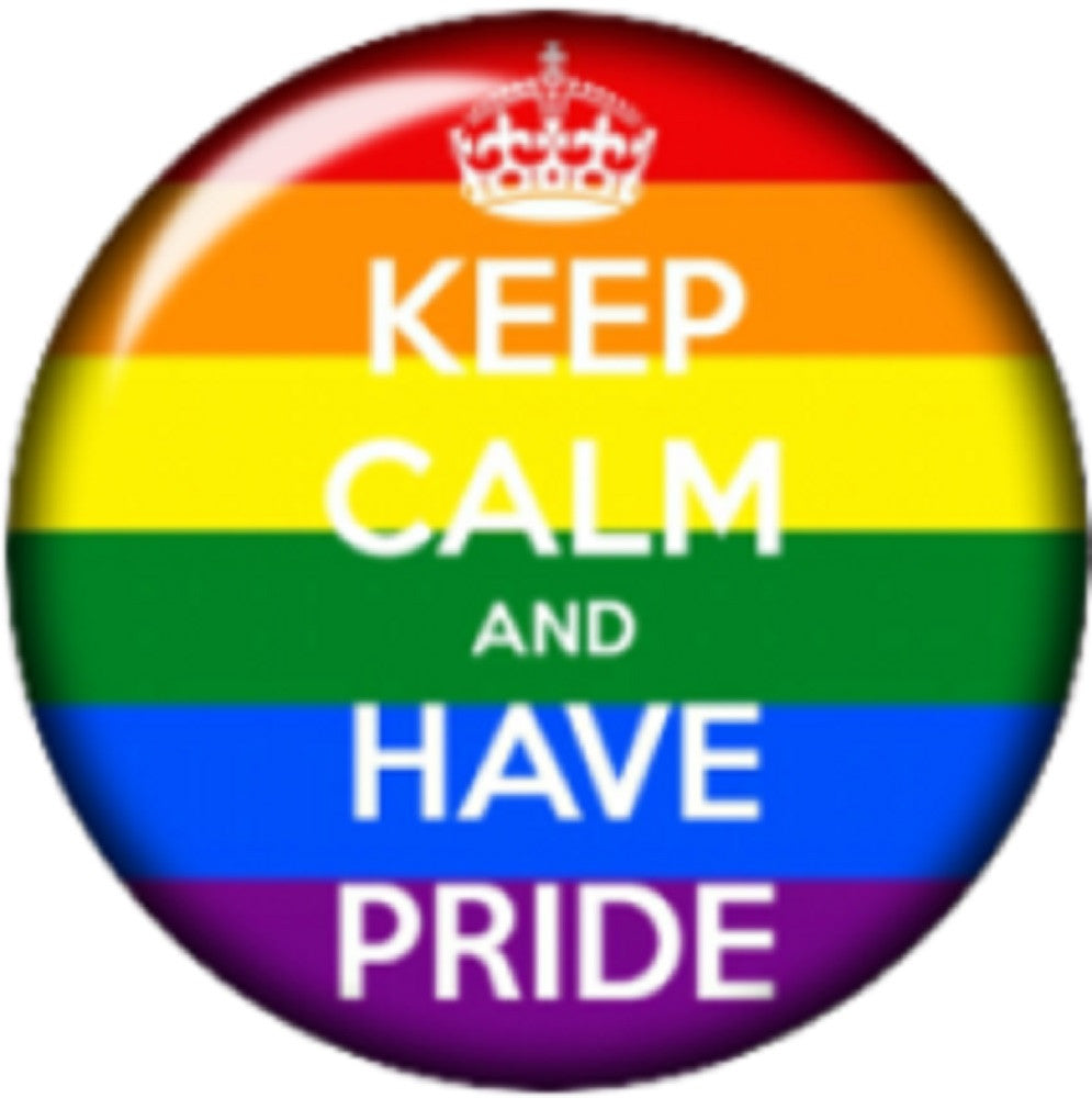 Snap button Keep calm and have pride Rainbow 18mm Cabochon chunk charm