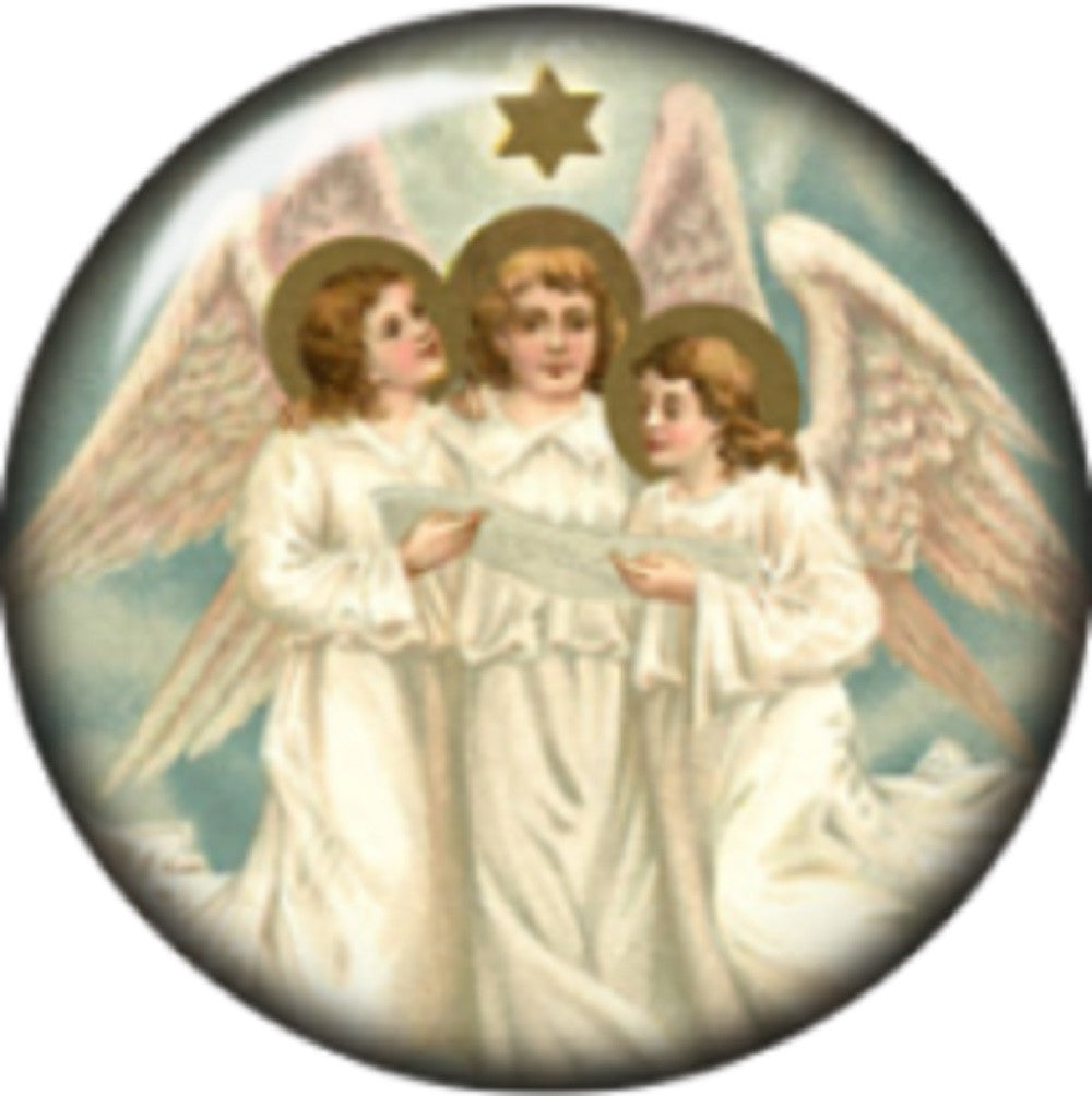 Snap button Triple Angels 18mm Cabochon chunk charm