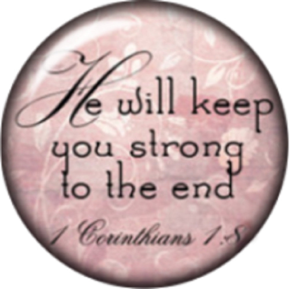 Snap button He will keep you strong until the end 18mm Cabochon chunk charm