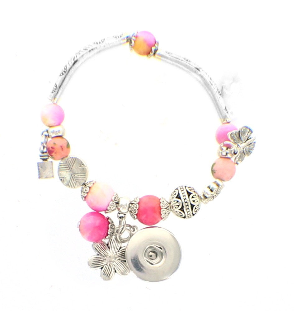 Bracelet Crystal Ball Beads  DIY interchangeable Snap Button fits 18mm