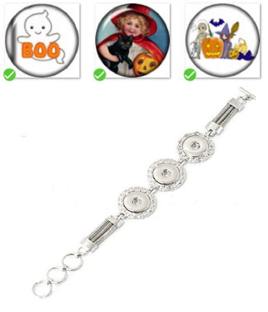 Bracelet Lobster Toggle Clasp 18mm Snap Buttons Halloween Collection