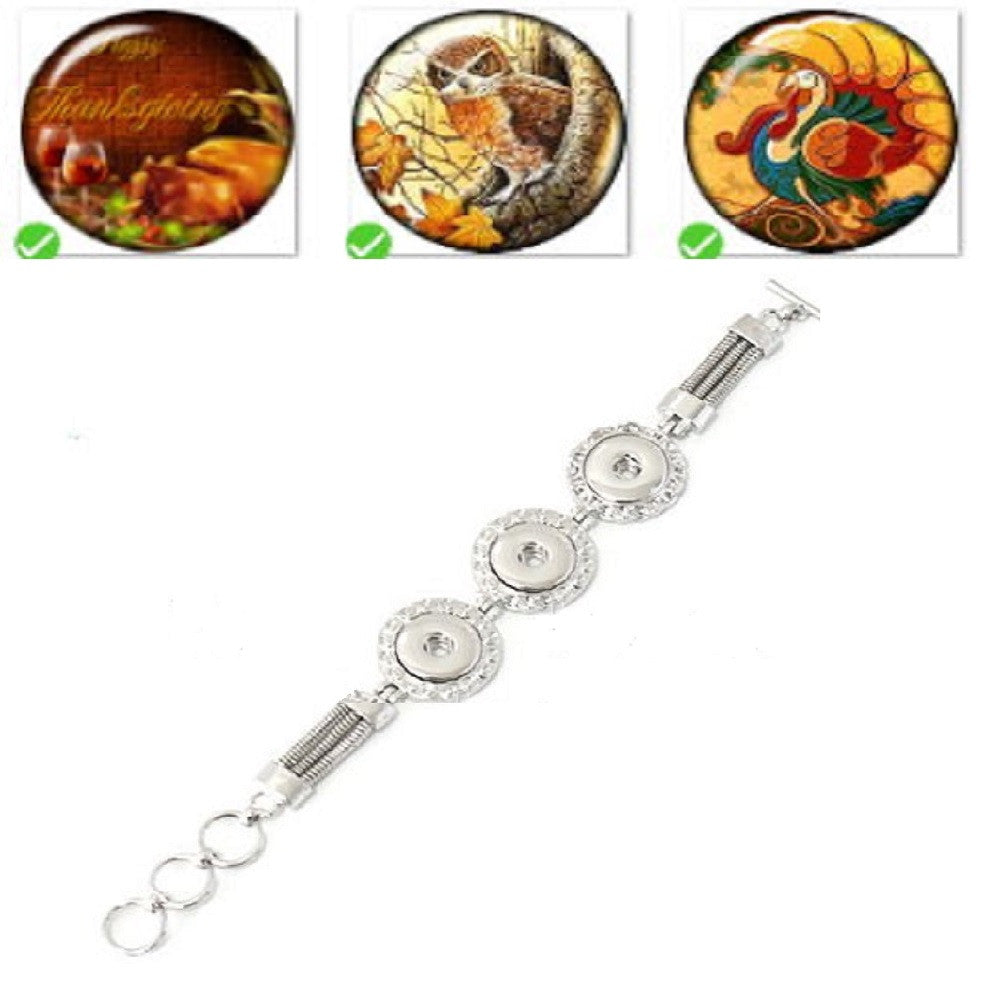 Bracelet Lobster Toggle Clasp 18mm Snap Buttons Thanksgiving Collection