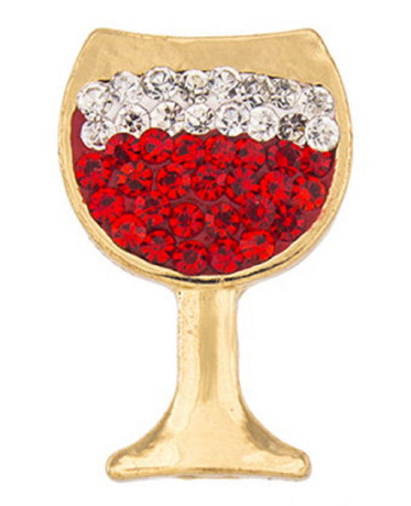 Snap button Crystal Gold Plated Wine Glass Interchangable Jewelry 18mm