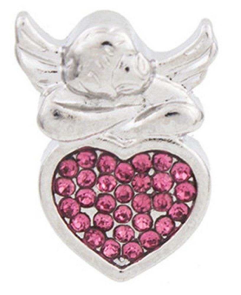 Snap button Crystal Angel Heart Interchangable Jewelry 18mm