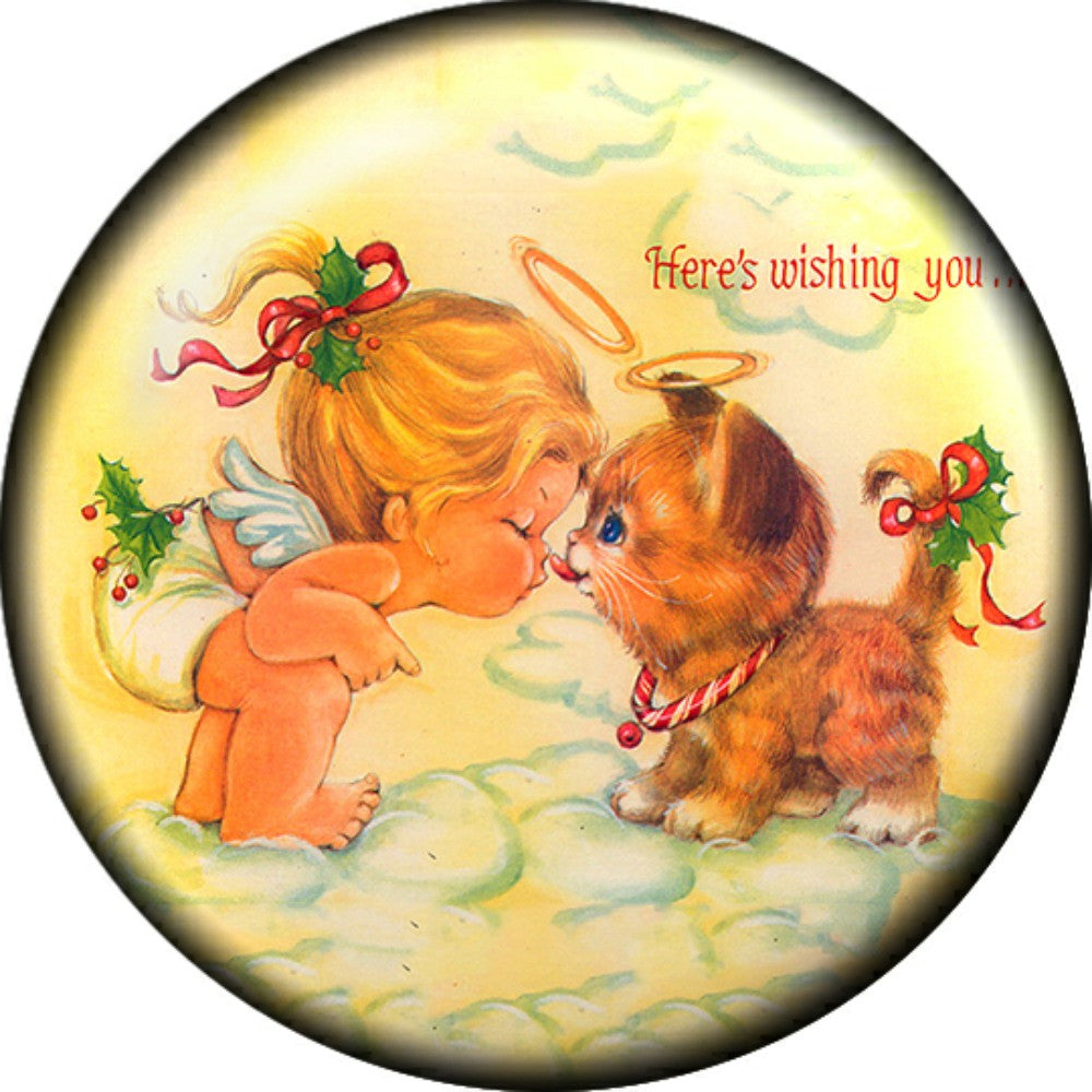 Snap button Happy Holiday Cat Angel here's wishing you 18mm Cabochon chunk charm