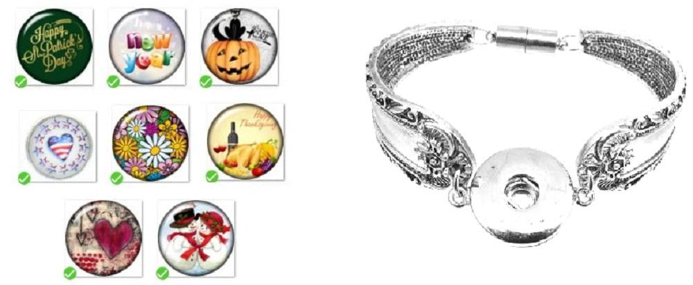 Bracelet Magnetic Clasp 18mm Snap All Season Collection