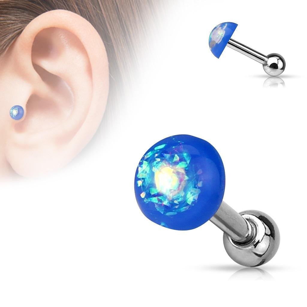 Tragus Opal Glitter Dome Top 316L Surgical Steel Catilage barbells 1pc 16g