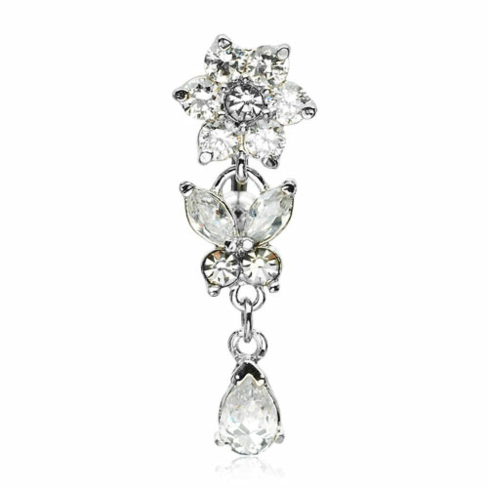 Belly Button Ring Flower CZ w/ Leaves Top Down Navel Titanium Shaft/Rhodium Plating 14 gauge