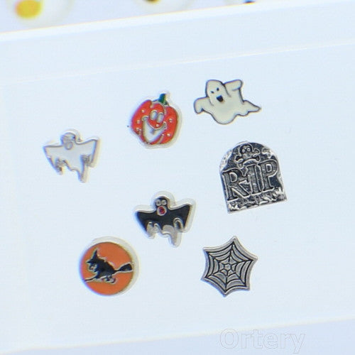 Halloween Themed Floating Charms for Living Glass Memory Locket  Set of 7
