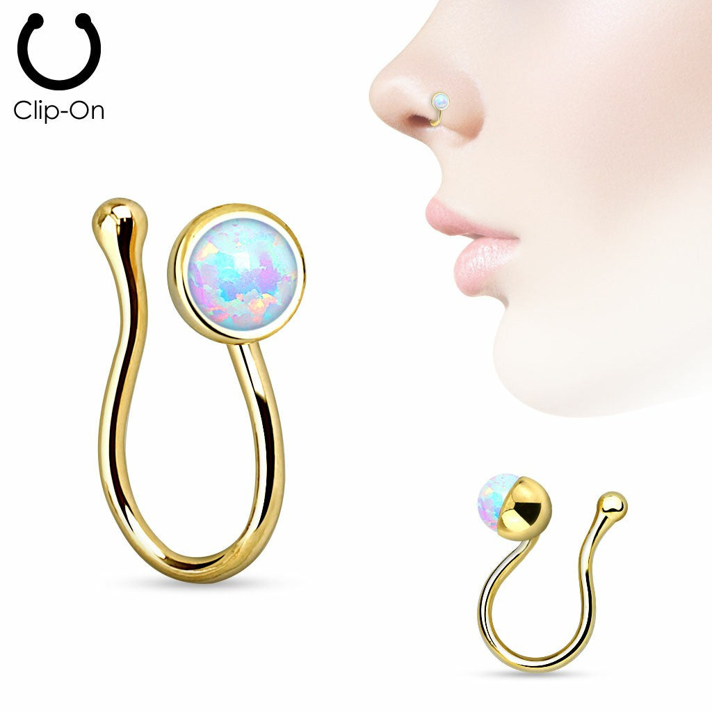 Opalite Gem Non Piercing Nose Clip Nose ring Stud   sold individually gold tone