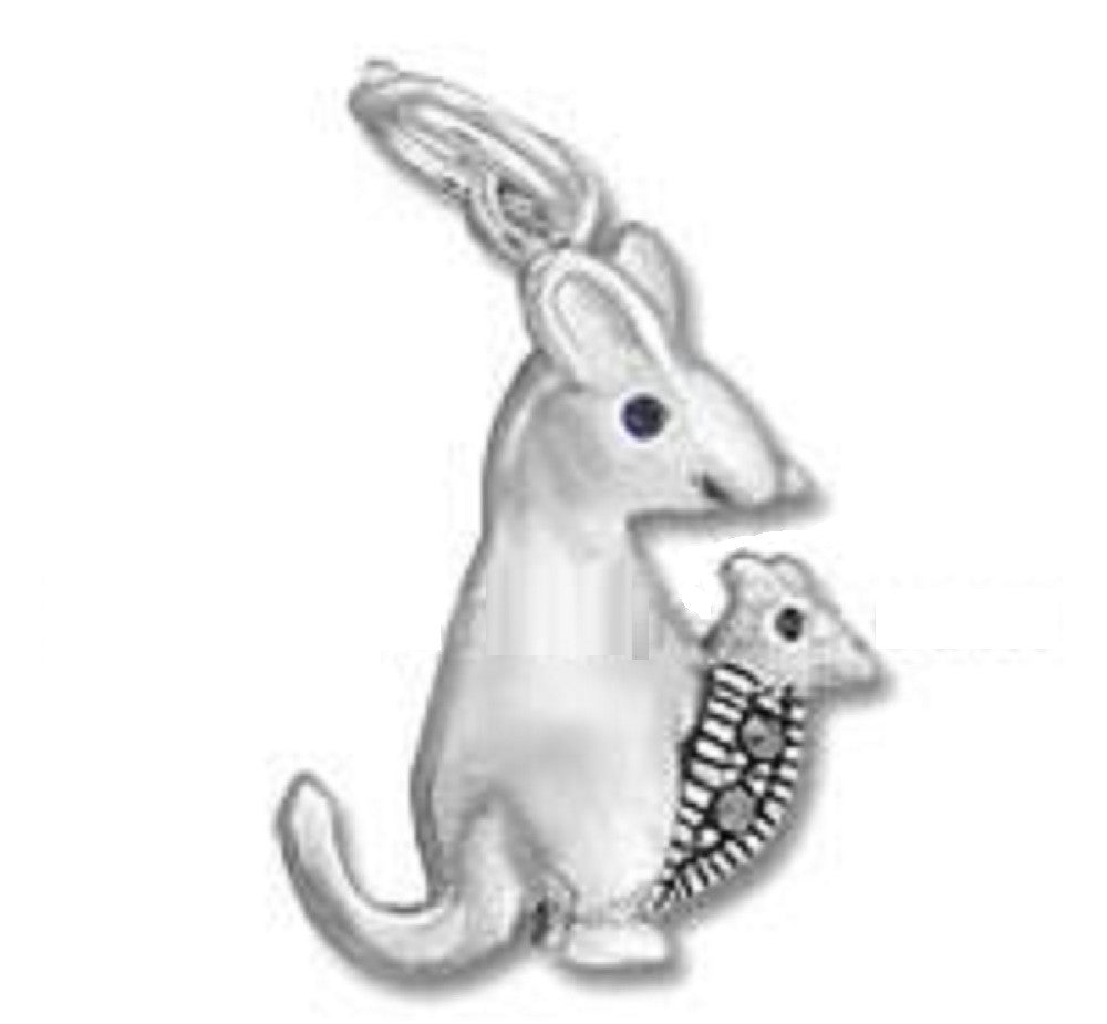 Sterling Silver  Kangaroo with Macasite Stone 20mm x 14mm