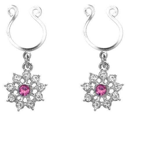Nipple Ring Bars CZ Rhinestone Flower Dangle Non Pierce   sold as pair