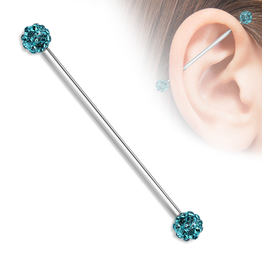 Industrial Barbell Crystal Paved Ferido Balls both sides 316L surgical Steel bar 1 1/2