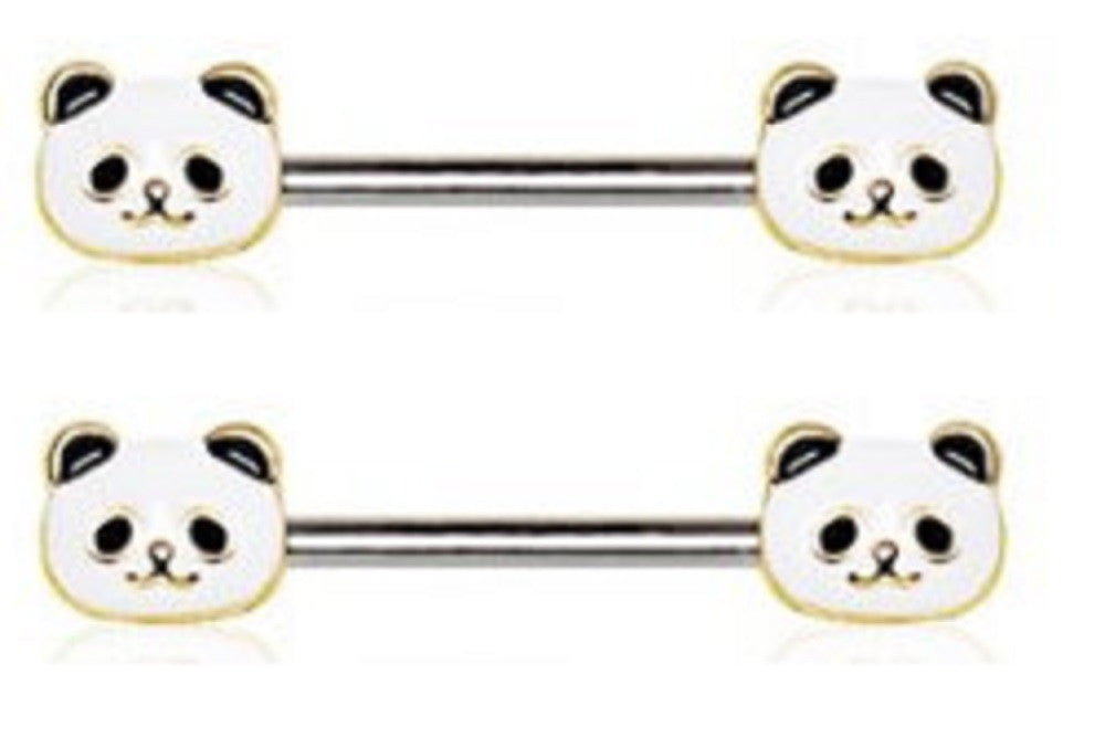 Nipple Ring Bars Panda Bear Body Jewelry Pair 14 gauge 9/16''' bar pair