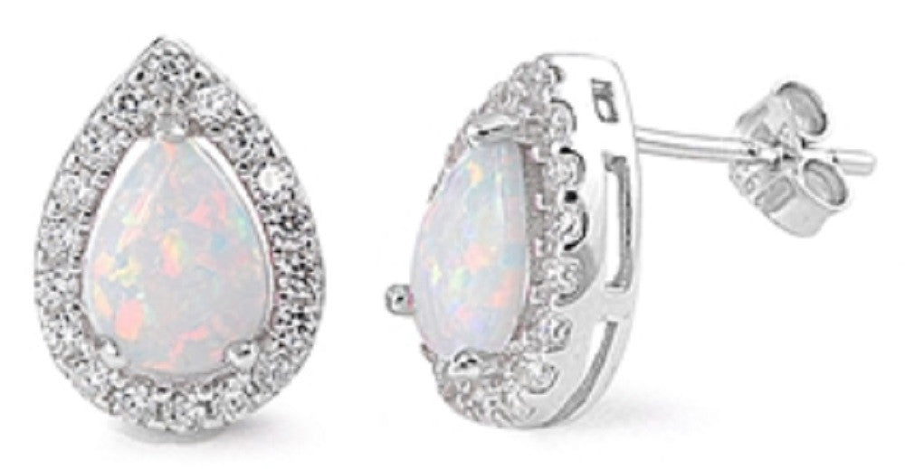 Sterling Silver Stud Earrings - White Lab Opal , Clear CZ Post stud earrings