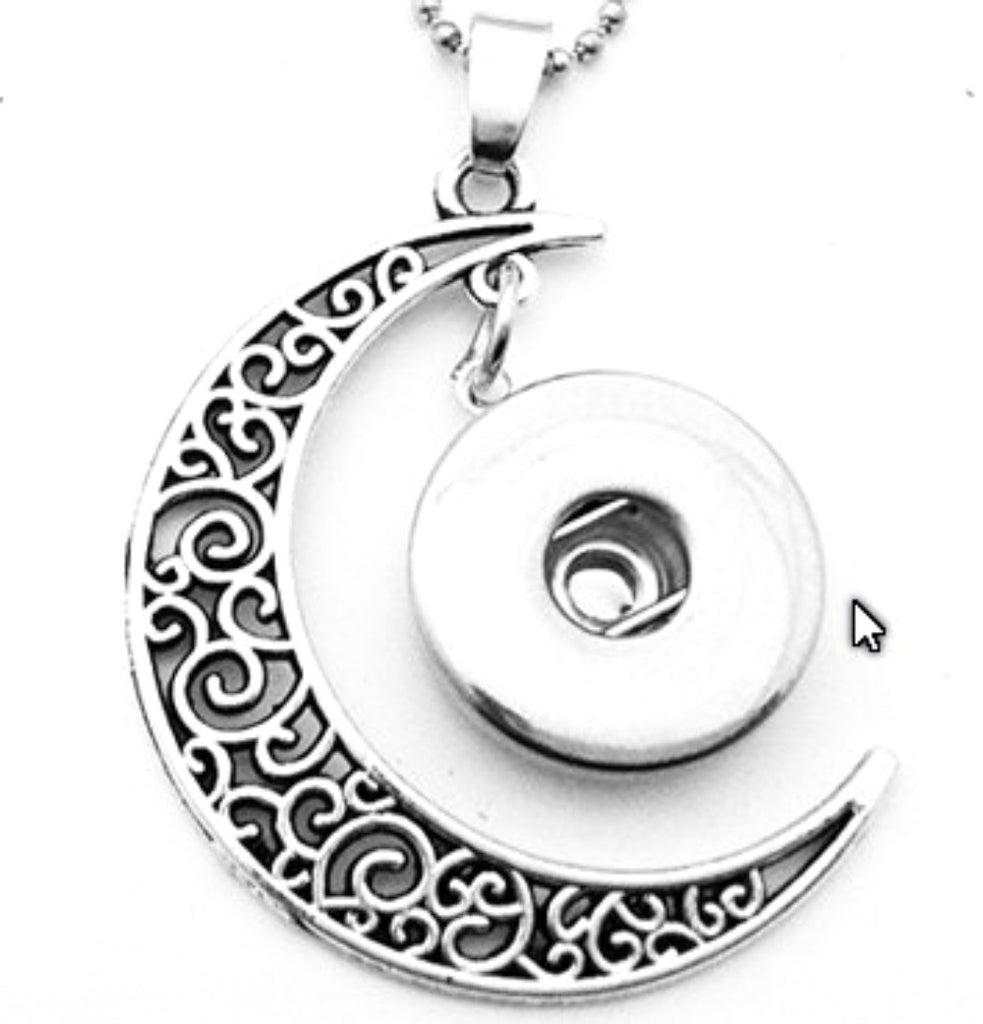 Pendant Interchangeable DIY Ginger Snaps Moon Filigree fit for 18mm Snap Button