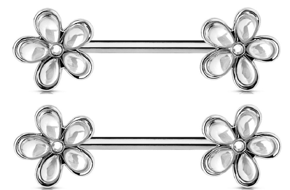 Nipple Ring Crystal Set  Flower Ends 316L Surgical Steel Barbells Pair