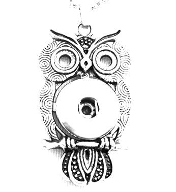 Pendant Interchangeable DIY Ginger Snaps Owl Filigree fit for 18mm Snap Button