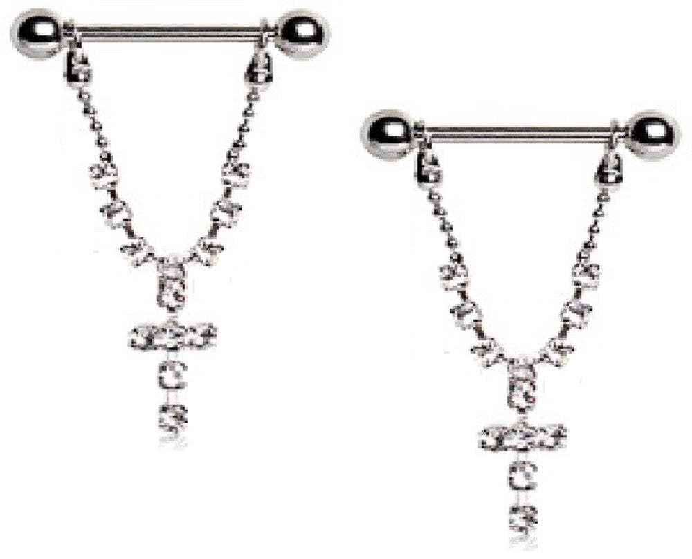 Nipple Shield Rings barbell barbells CZ Cross sold as a pair 14 gauge