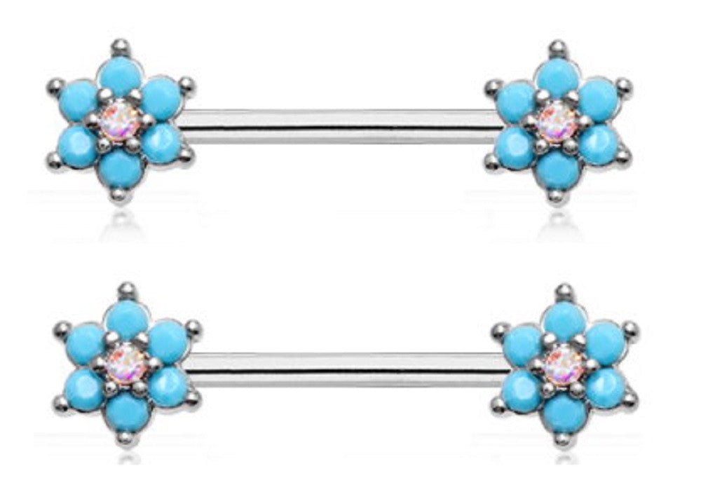 Nipple Shield Rings Turquoise Spring Flower Sparkle Prong Set pair 14g 5/8''
