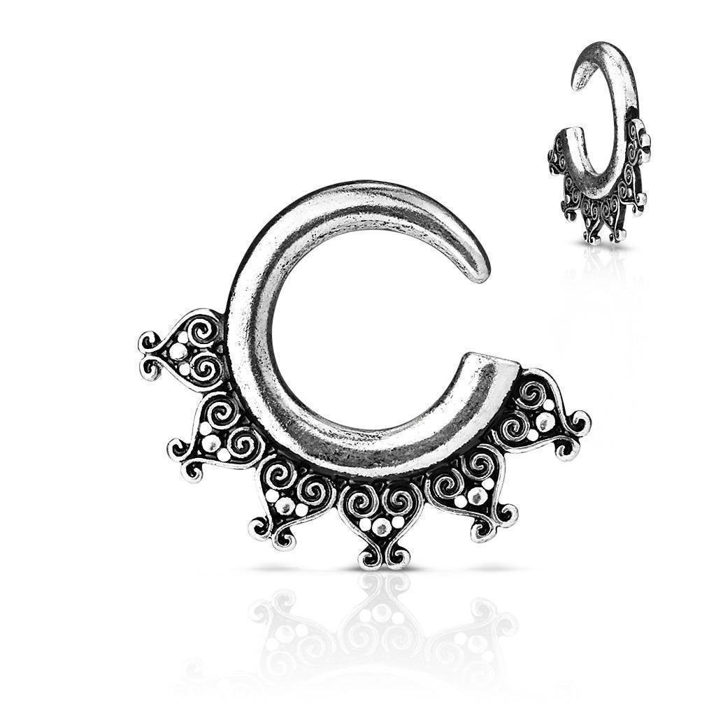 Earrings Rings Tribal Antique Silver Plated Ear Spiral Taper - Sold as a pair 4G