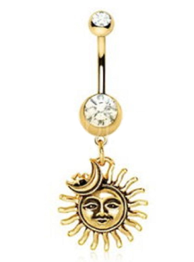 Belly Button Ring Surgical Steel Gold Plated Sun Moon Star Navel Ring 14g 3/8'