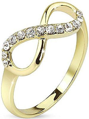 Pave Gemmed Infinite Ring. Brass with 14Kt Gold Plated Infinity Knot CZ Ring