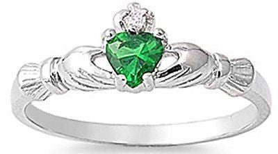 STERLING SILVER RING W/CZ Faux Emerald Claddagh Ring Baby ring sizes available