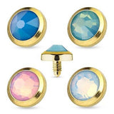 Flat Top Opalite Gem Gold IP 316L Surgical Steel Dermal Anchor Top 4mm 14g