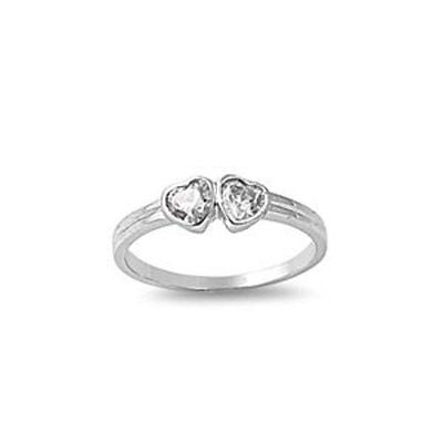 STERLING SILVER RING W/CZ Double Heart Ring Baby ring Or pinky ring