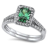 STERLING SILVER RING W/CZ Synthetic Emerald - Wedding Set