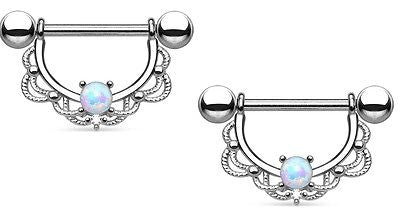 Nipple Ring Bars 14g 5/8 Opal Centered Fligree Drop 316L Surgical Steel  Piar